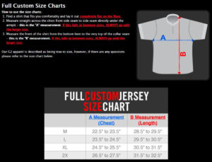 Shooter Shirt Sizes